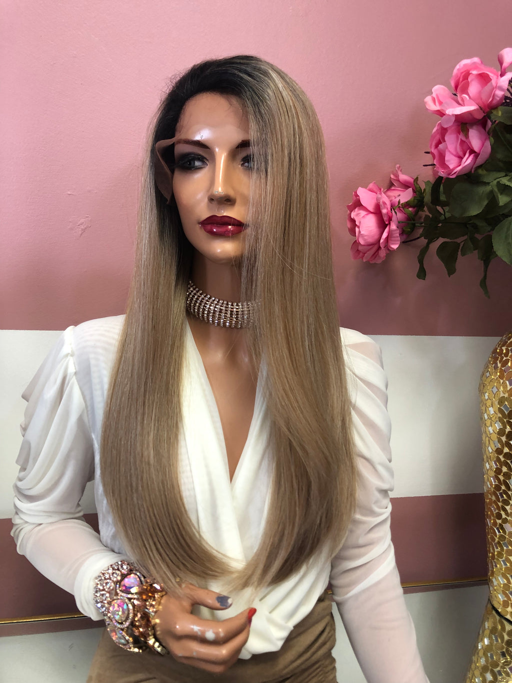 "Blond Ombre' Balayage Lace Front Wig 18"" Marcia 0219"