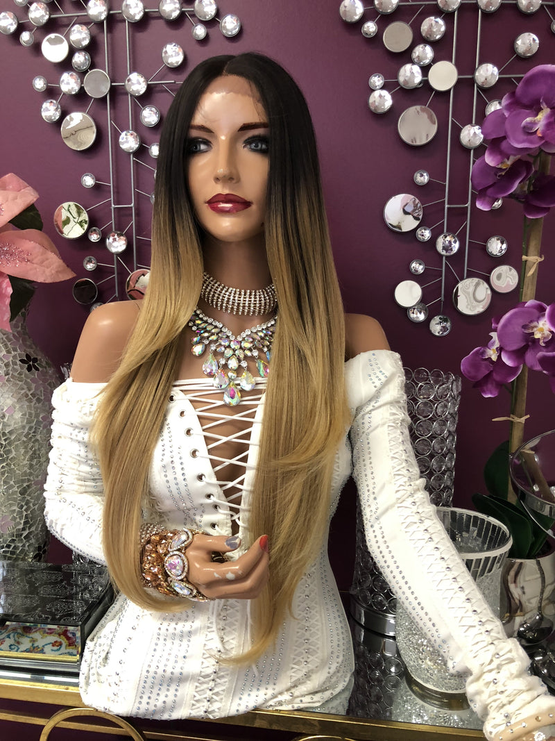 "Blonde Ombre Swiss Lace Front Wig | 26"" Stephanie 918"
