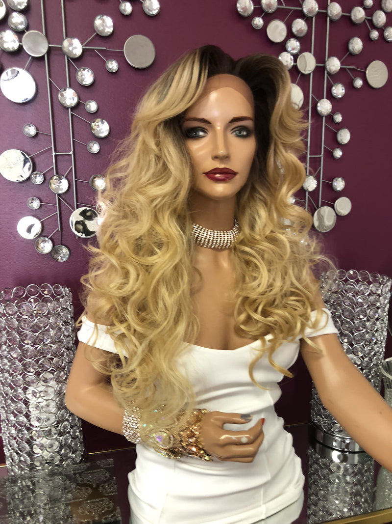 "Blonde Curly Long Wavy Hair Swiss Lace Front Wig 22""0818"