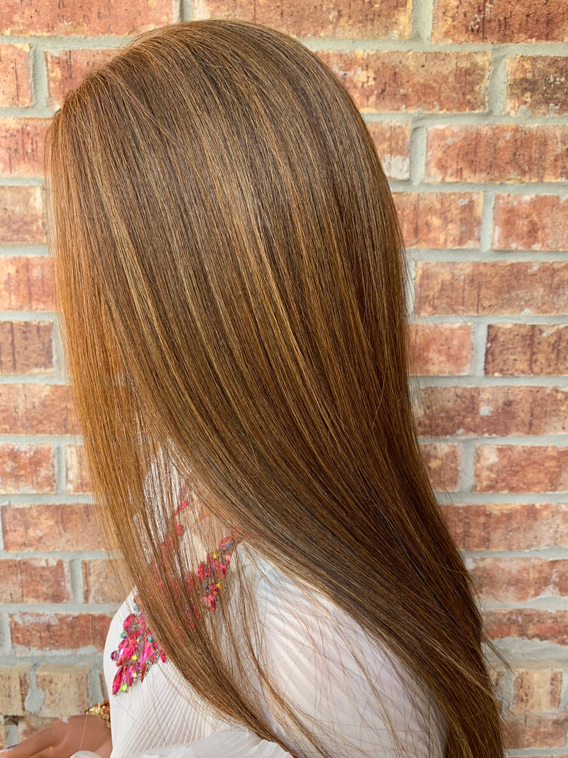 LORETTA Brown Balayage Highlights Hair Full Lace Wig 18""