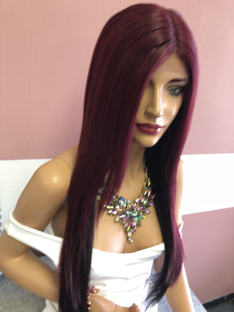 "Red ombré Swiss Lace Front Wig 22"" 718"