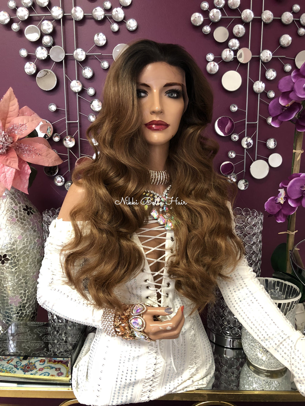 "Brown Ombre Swiss 13x4 Multi Parting Lace Front Wig | 24"" Annoint 918++++"