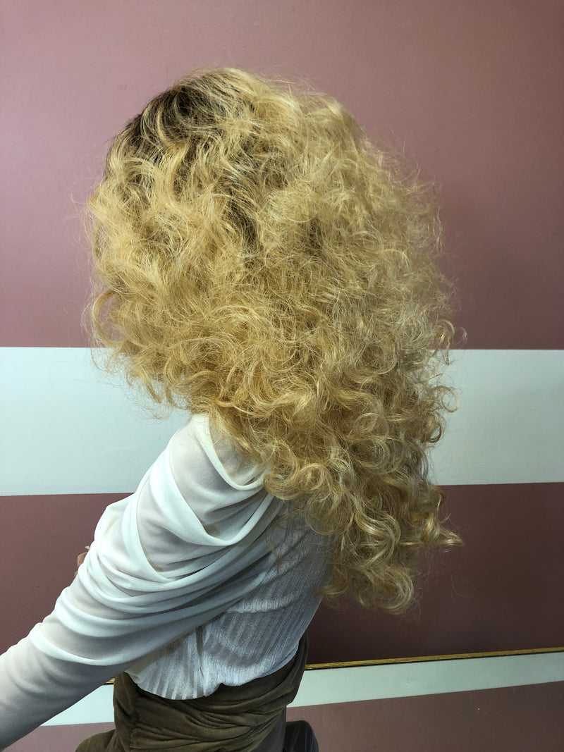 "Blond ombre Curly 4x4 Lace Front Wig 22"" 0219 13"