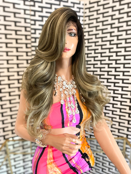 "NATALIA lace front wig 22"" long ash blonde balayage hair"