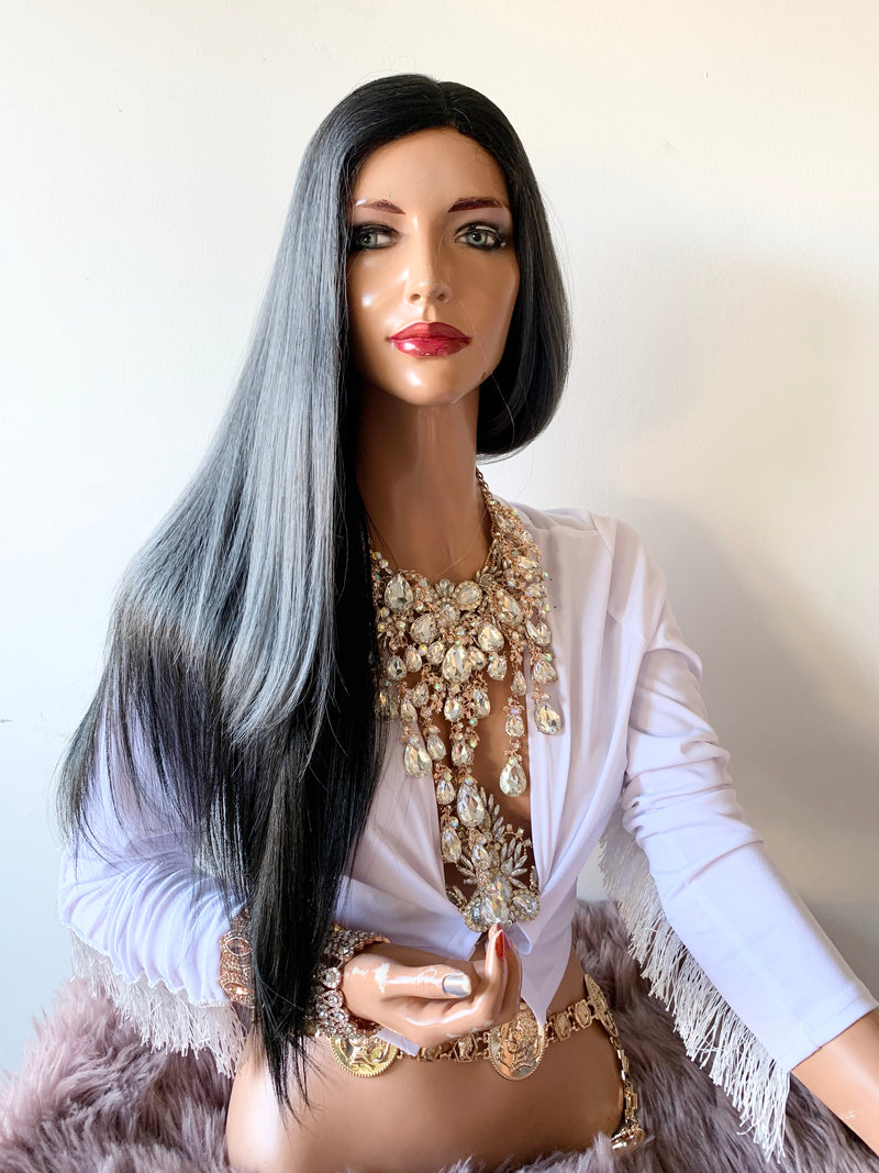 Charcoal Gray Lace Wig 22""