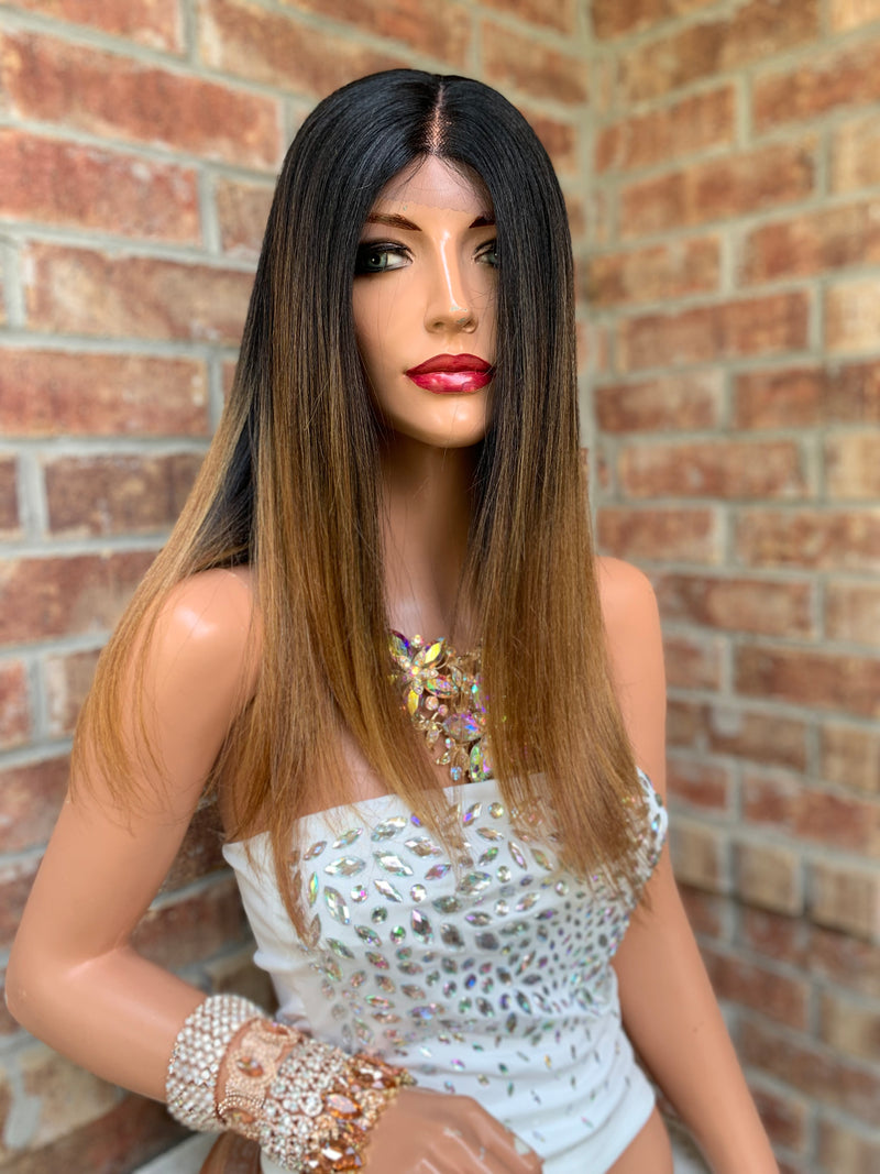 Honey Brown Ombré Lace Hair Wig  Invisible Parting | Camille 0519 6
