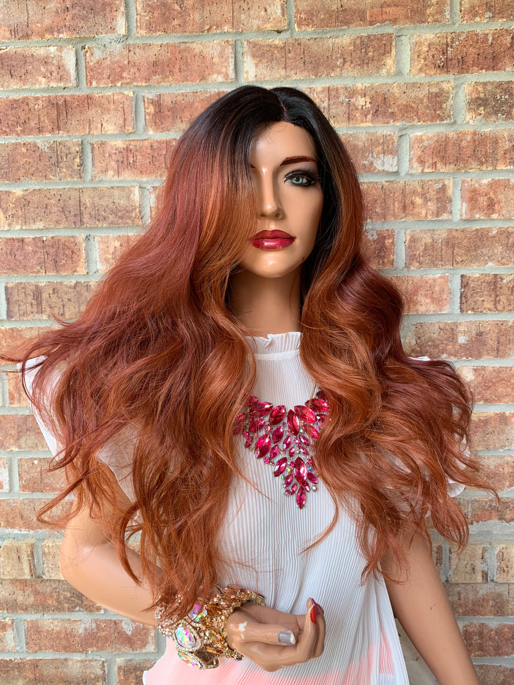 LYNN Red Balayage Highlights Hair Lace Wig 18""