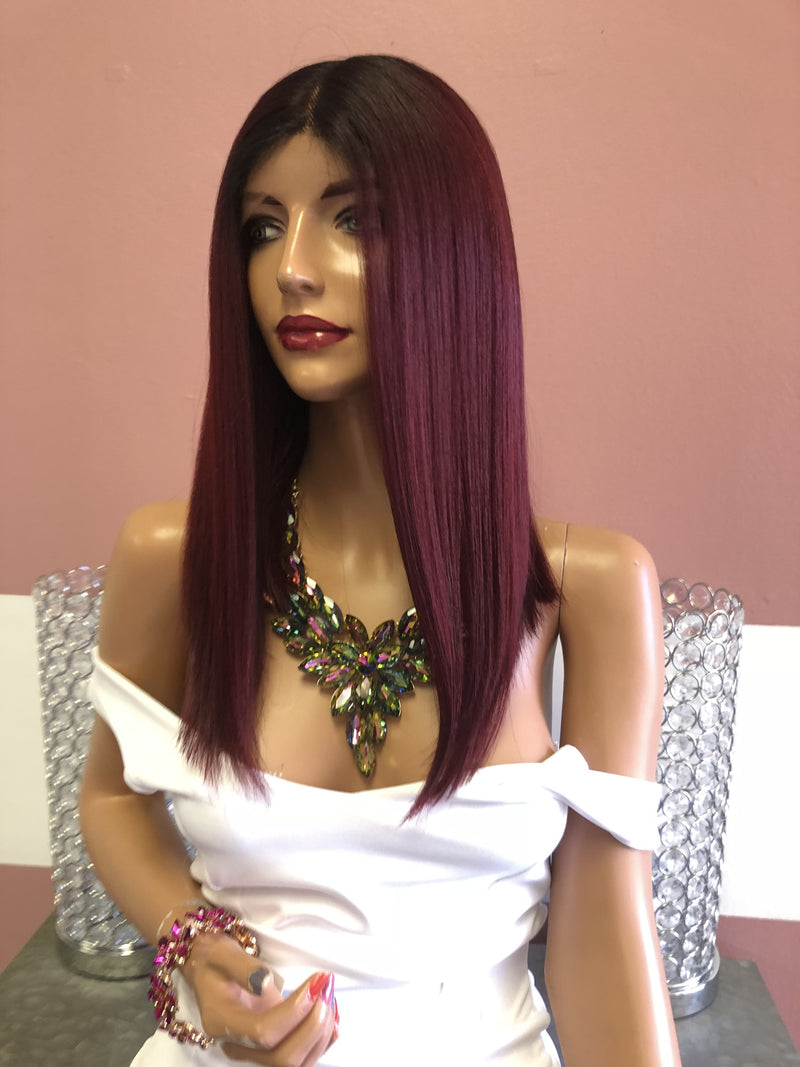 Red Ombre Swiss Lace Front Wig 14"