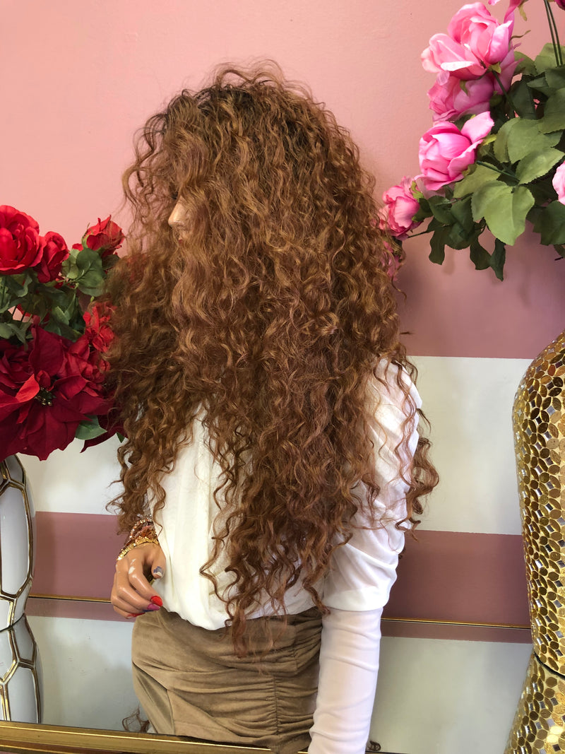 "Ombre Brown Long Curly Lace Front Wig 28"" 0219 4"