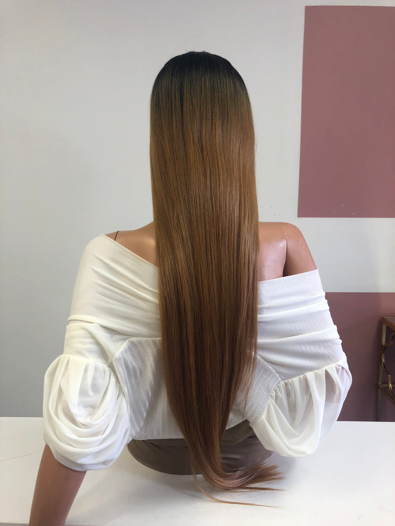 "Dark Blonde Ombre Long Straight Hair Lace Front Wig 28"" 0319 Lauren"