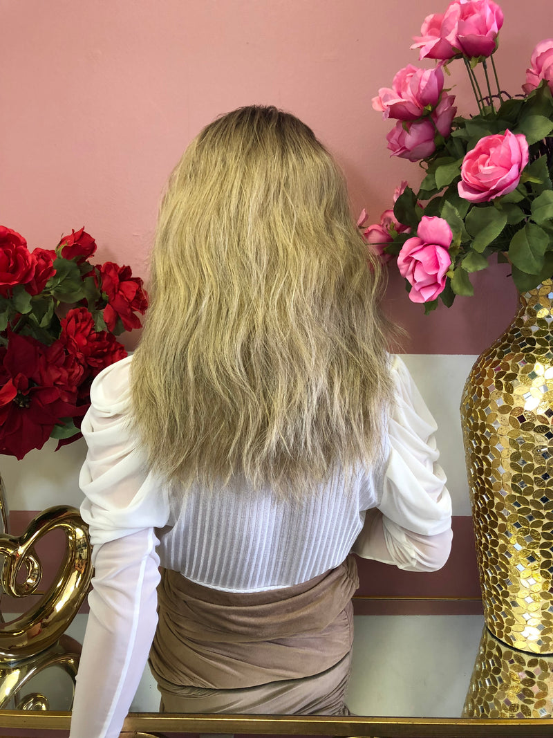 "BOSTON Ash Blond Balayage'  Wavy Lace Front Wig 12"" 0219"