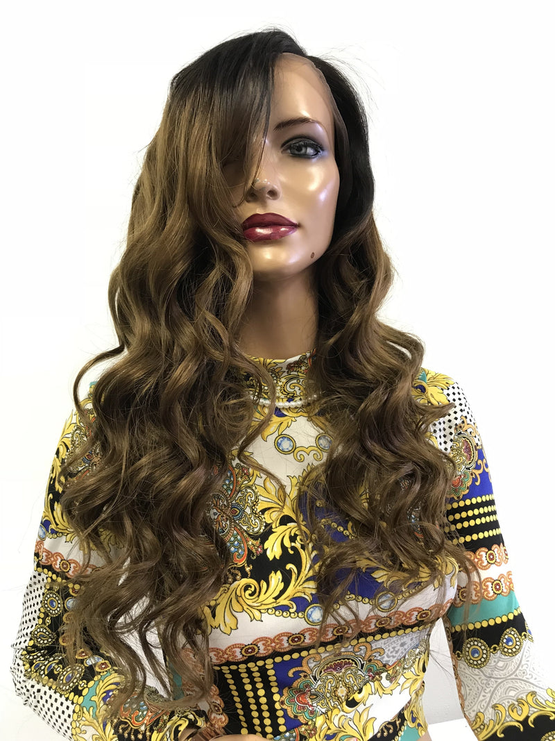"Brown OMBRE HUMAN HAIR Lace Front Wig 20"" 0418"