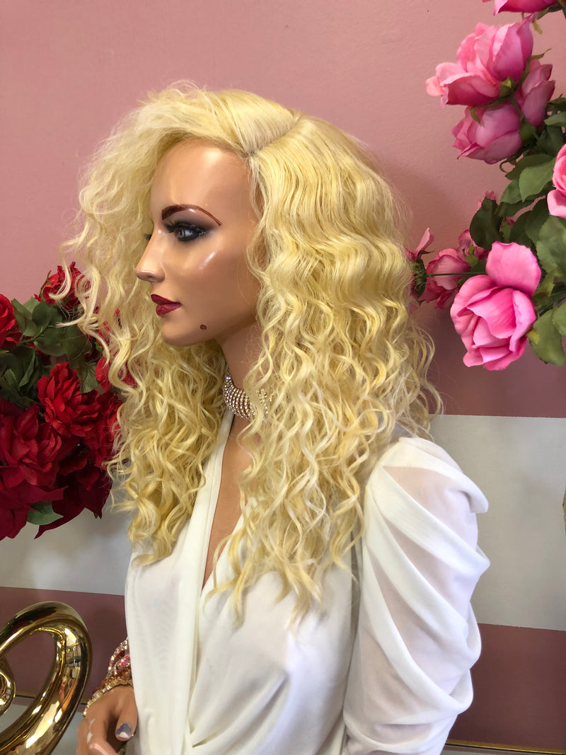 "Blond Curly Lace Front Wig 12"" 0219 8"