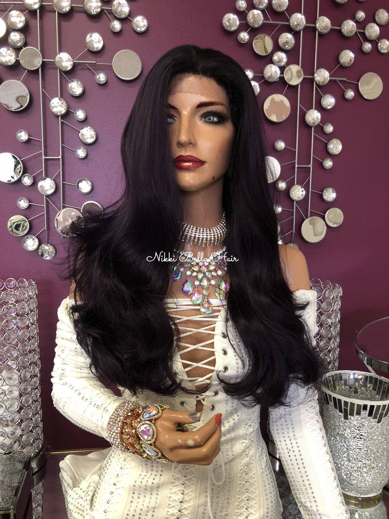 Purple Long Loose Curl Hair Swiss Lace Front Wig 21"