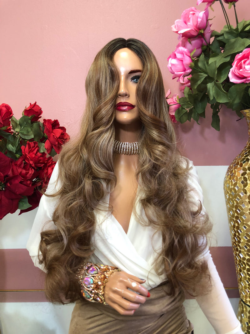 "Dark Blonde Ombre Curly Full Wig 22"" 0219 25"