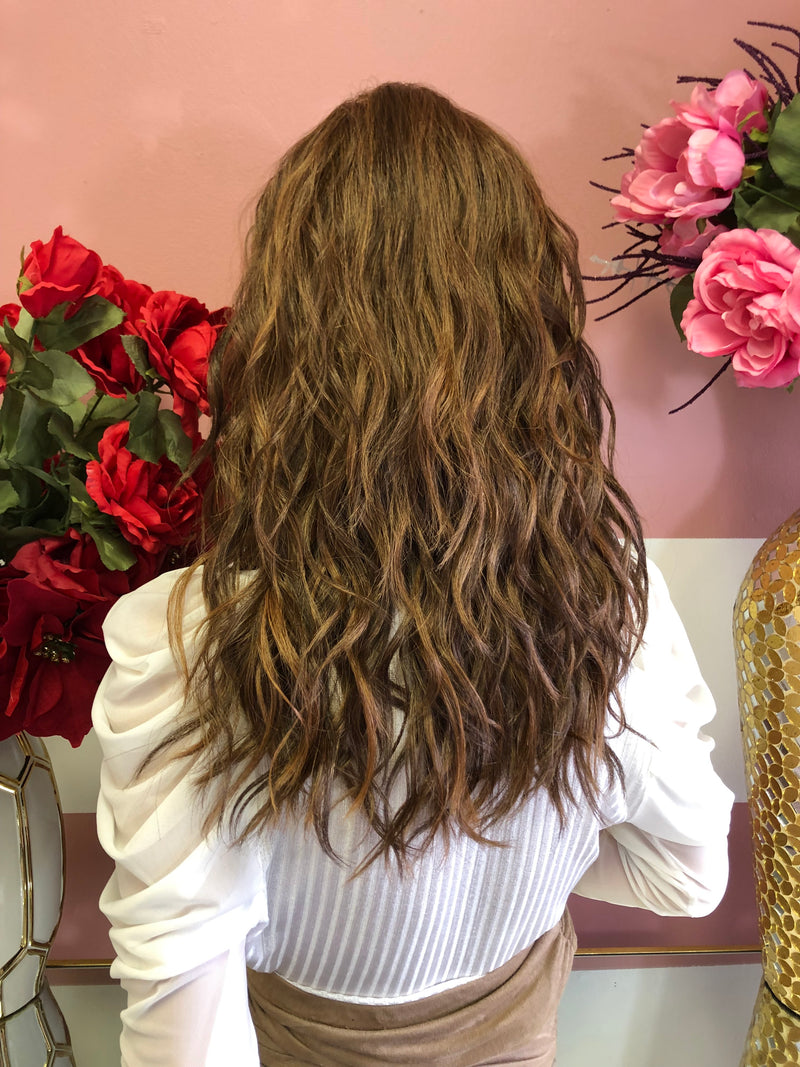"Brown Balayage Wavy Lace Front Wig 12"" 01 19"