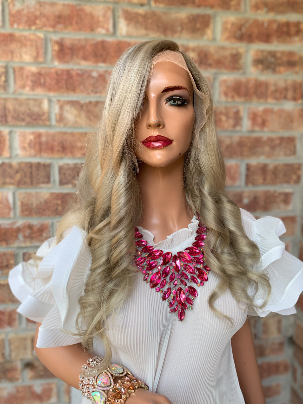 "Ash Blond Balayage Full Lace Wig | Mary 0419 18"" Long All Around Lace"