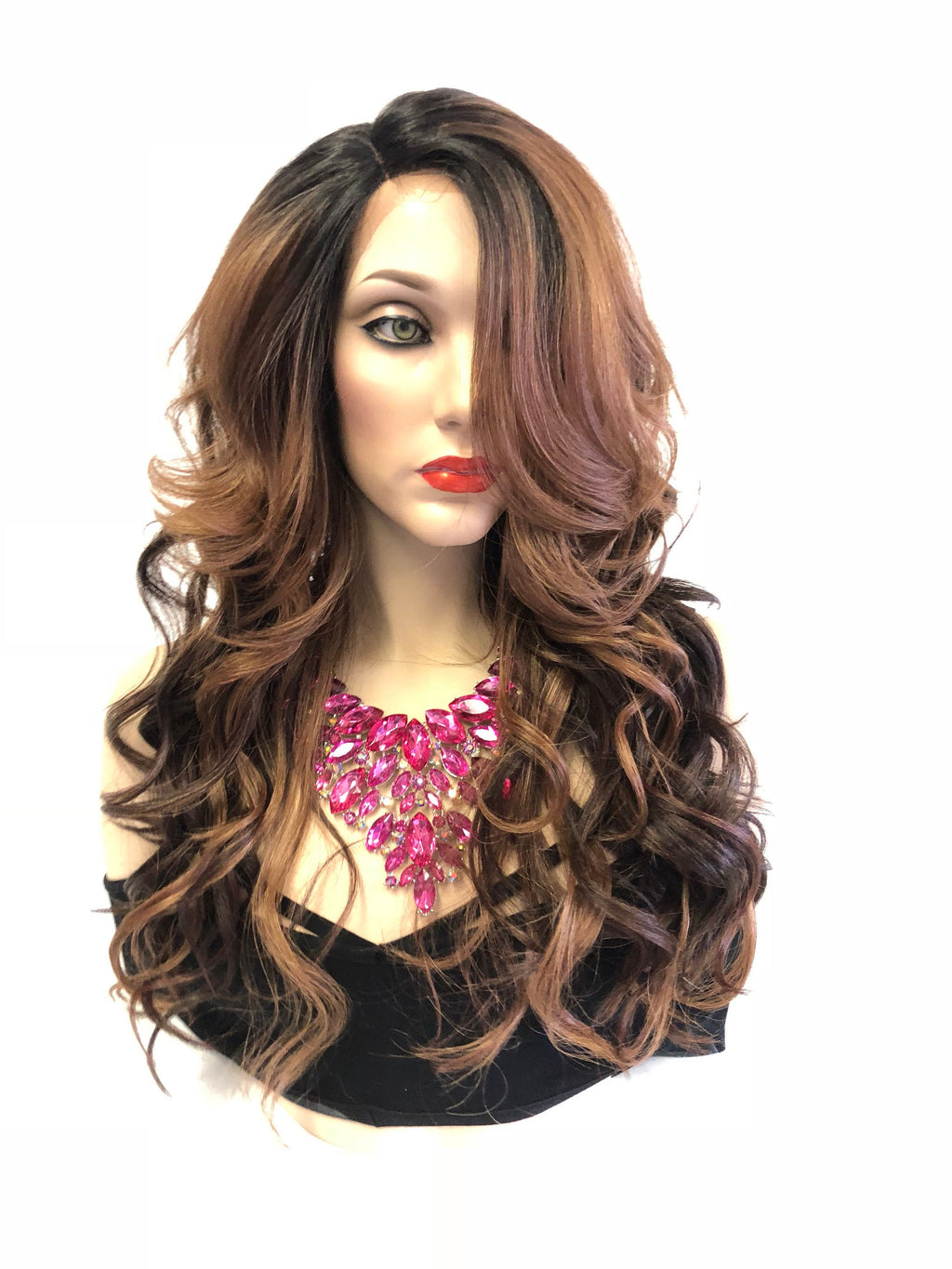 Balayage Brown Hair Lace Front Wig | Volume Curly Layere Hair + Bangs | Pandora