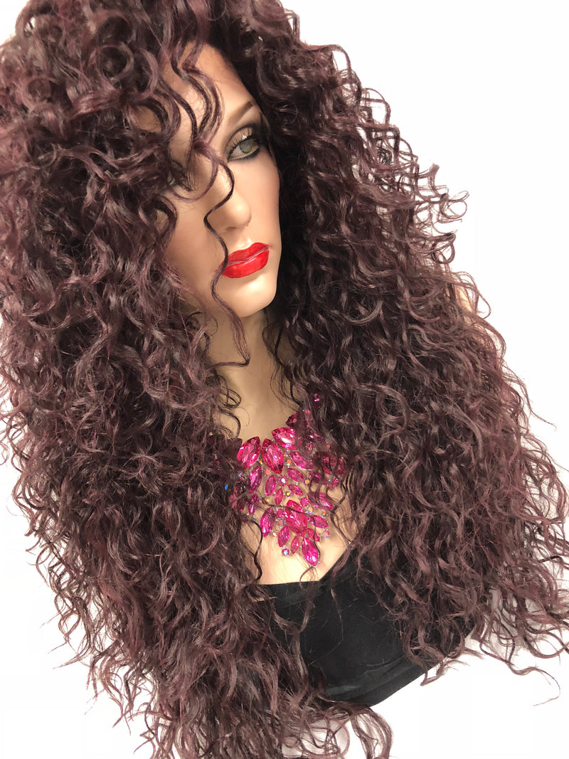 sale Burgundy Swiss lace front wig| Multi parting | Chaka Khan Costume Wig| 918 19 Water Sign