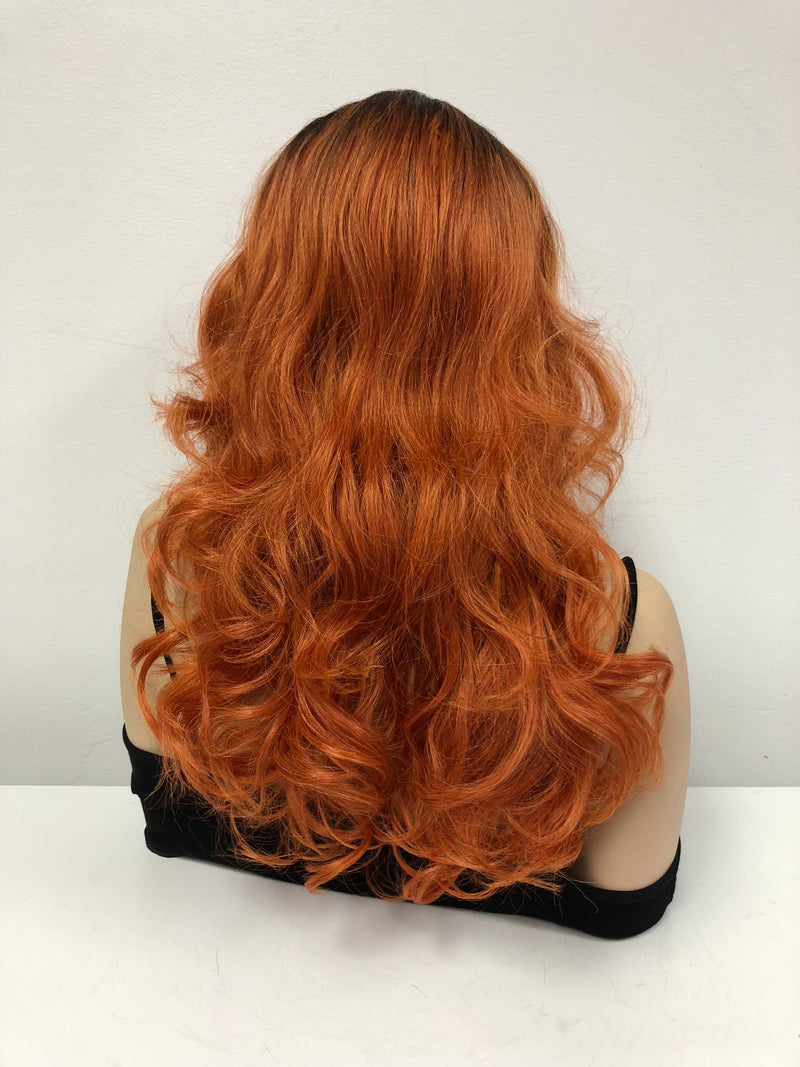 Copper Orange Ombre Swiss lace front wig| 4x4 Multi parting | Peggy Bundy Costume Wig | 918 23 Friendships
