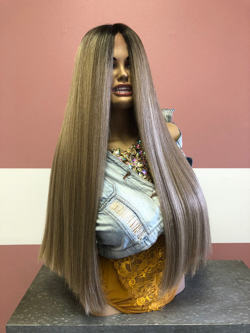 Ash Blonde Balayage Ombre' Lace front Wig 24""