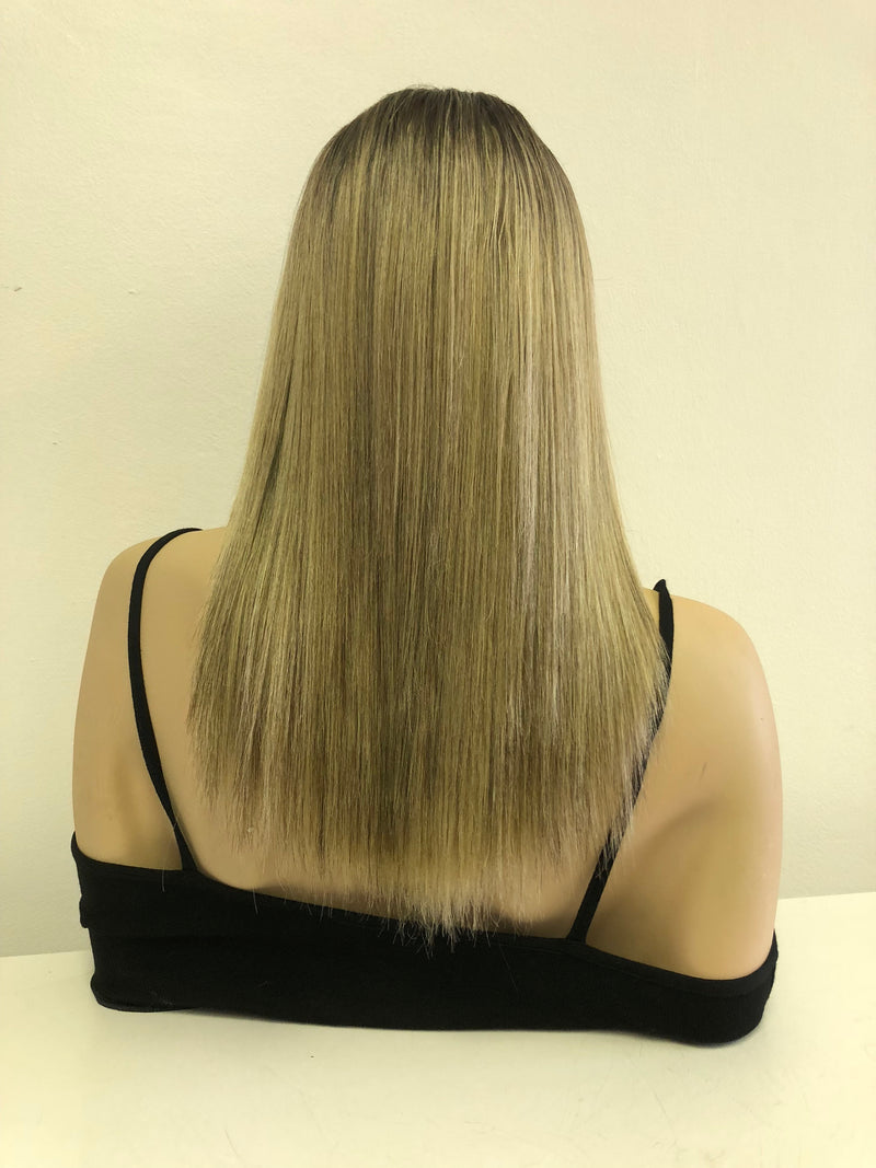 Ash Blonde Balayage Ombre' Lace front Wig 14""