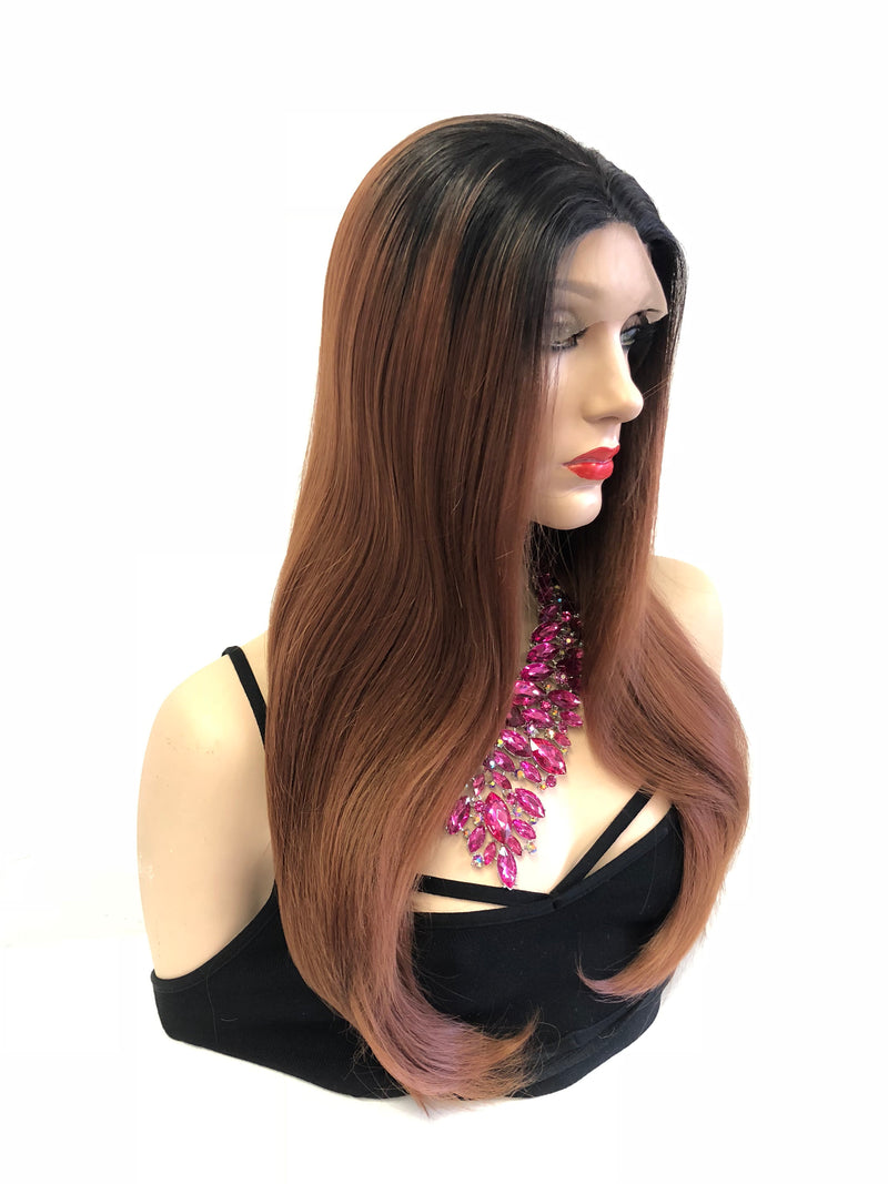 Ombre Mocha Brown Swiss Lace front Wig 18""