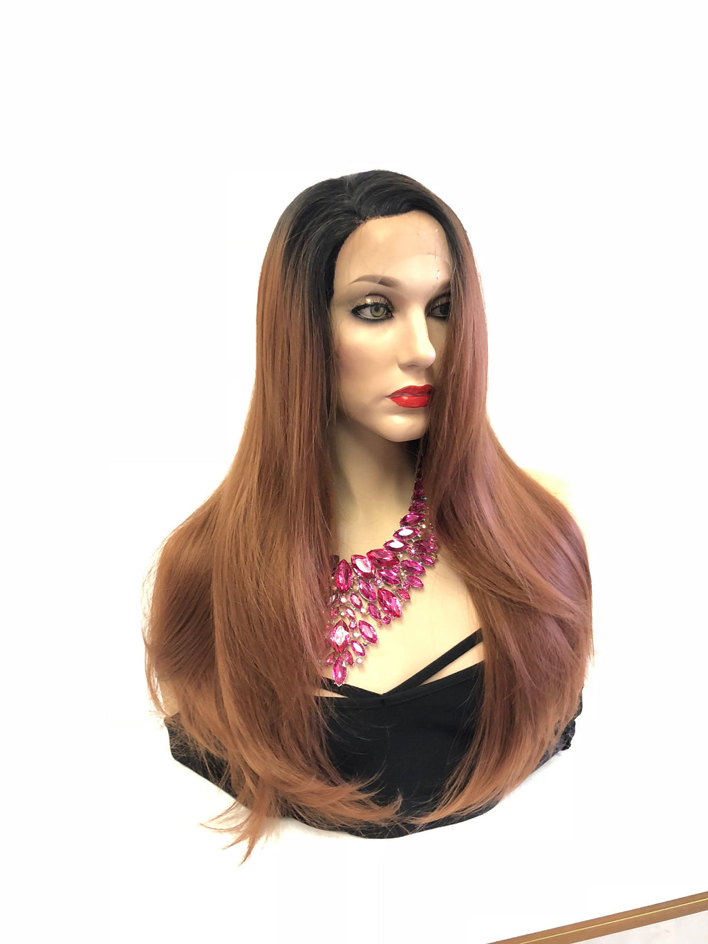 "Ombre Mocha Brown Swiss Lace front Wig 18"" e25 