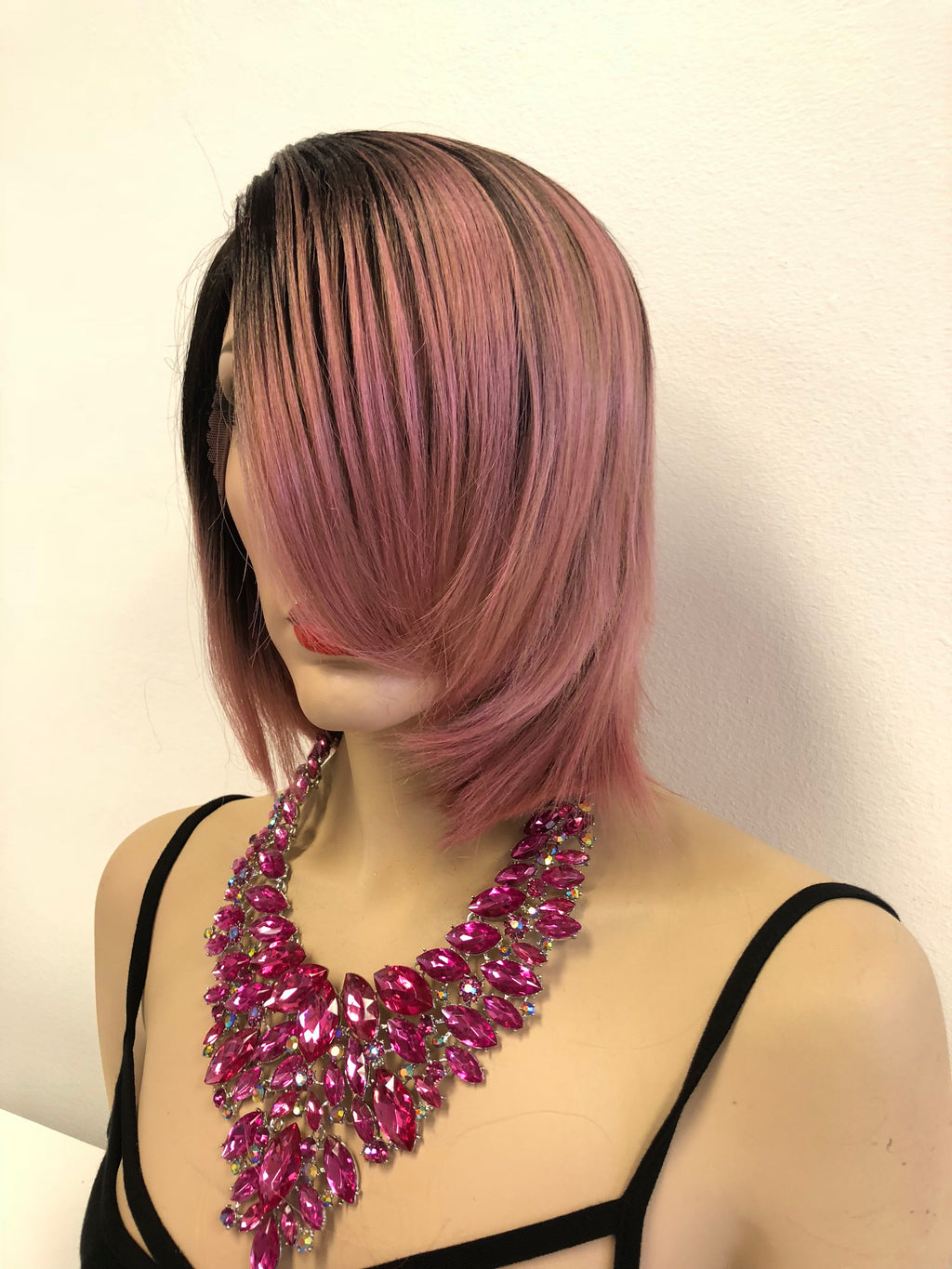Pink Black Ombre Short Lace front Wig 6""