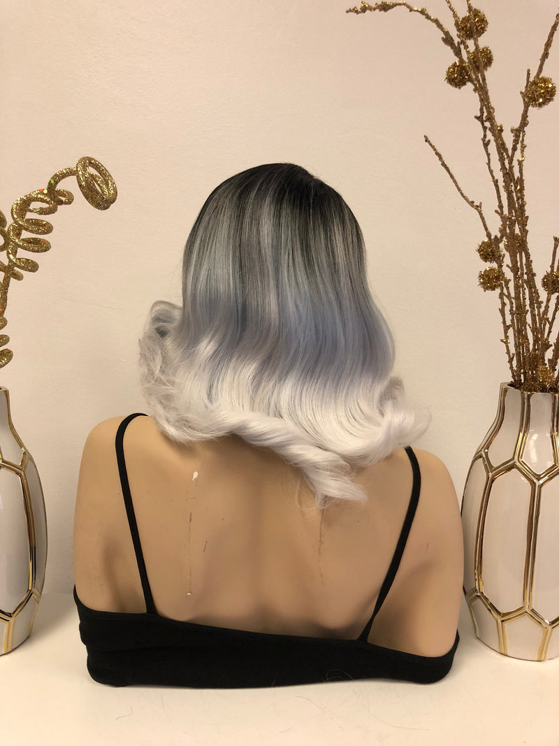 Blue Gray Silver Ombre Front Lace Wig | Volume Curls Soft Layered Hair | Topaz e36