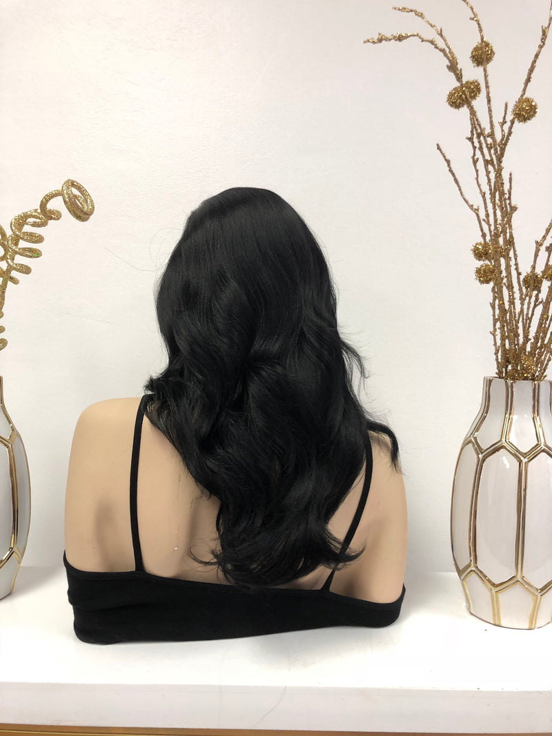 Black Front Lace Wig | Volume Curls Soft Layered Hair | Bobbi