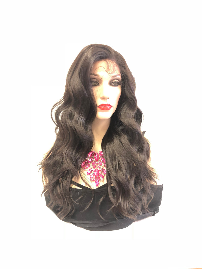 Brown Front Lace Wig | Volume Soft Waves Layered Hair | Paislee 1018