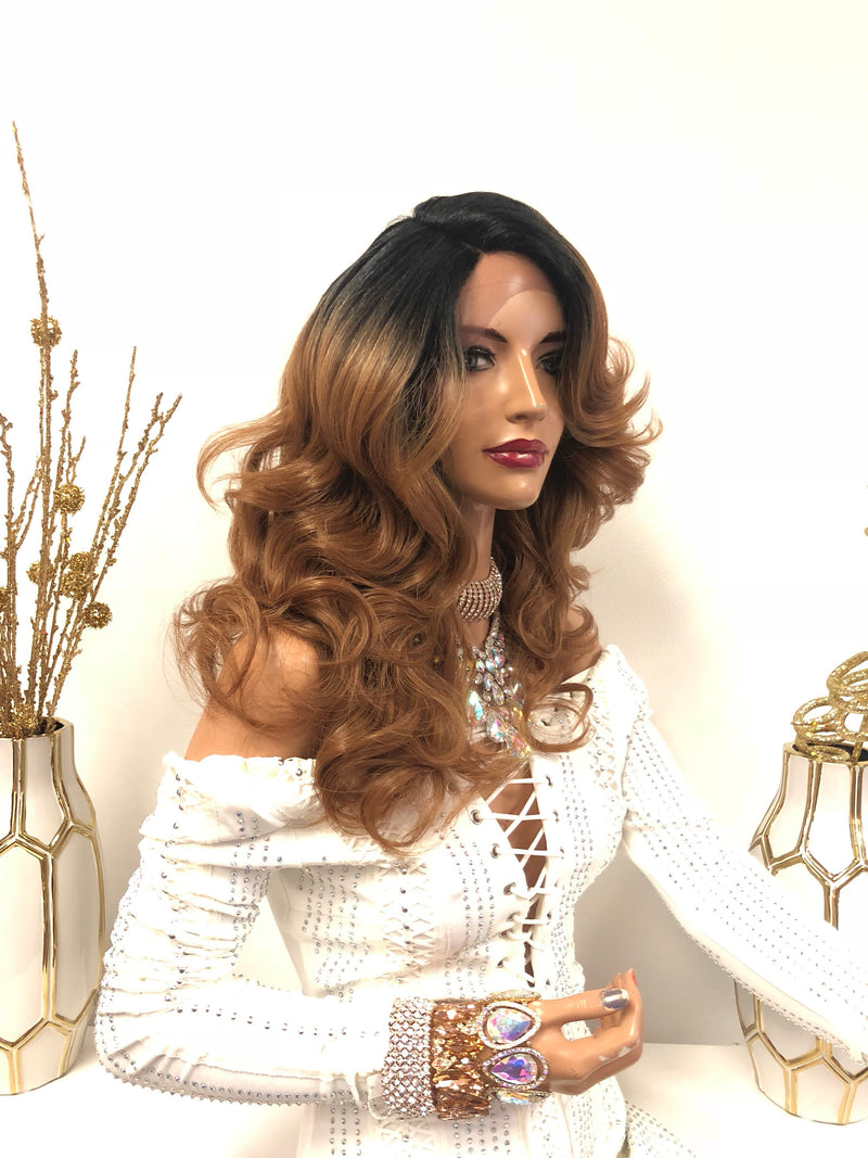 "Dark Blond Ombre Swiss Lace Front Wig | 14"" Curly Soft Layered Hair 