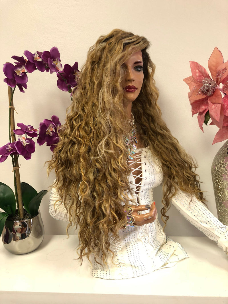 Blond Balayage Hair with Dark Brown Roots | Swiss Front Lace Wig 30"