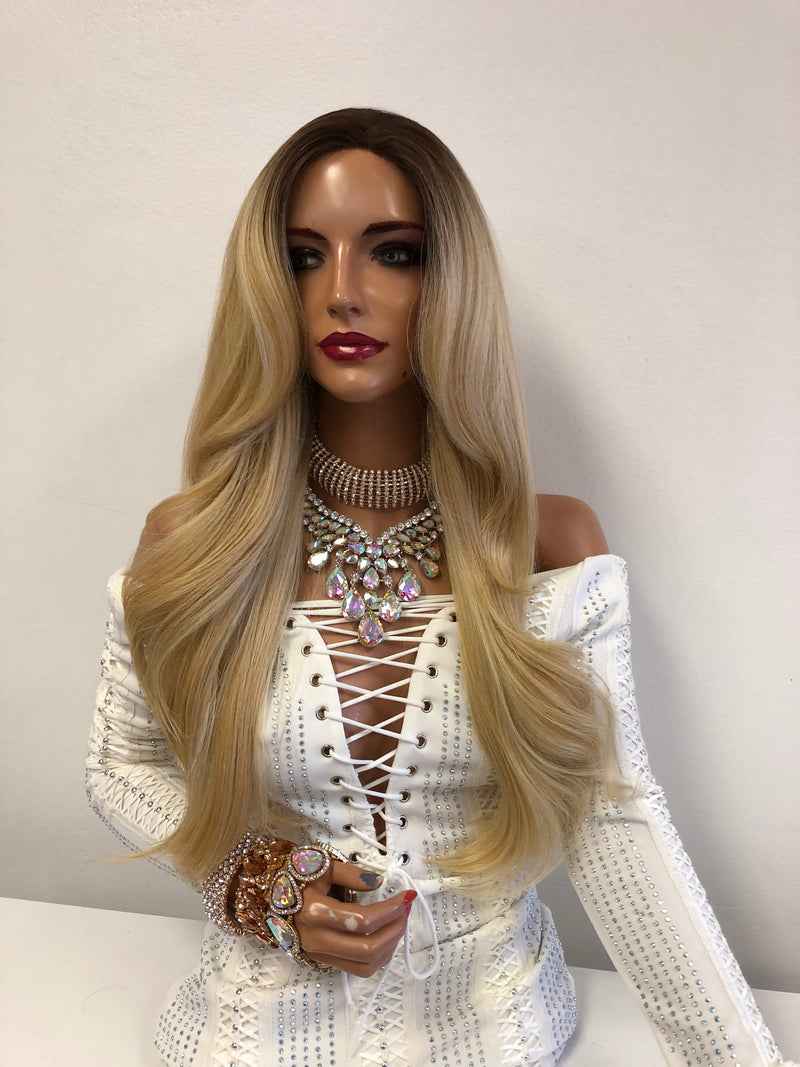 Blond Ombré Swiss Front Lace Wig | Long Soft Layered Hair | Julie 1018 11