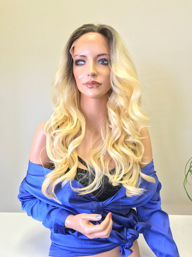 Blond Ombre Balayage Highlights 22 inches | Swiss Front Lace Wig | Long Soft Layered Hair | Connie