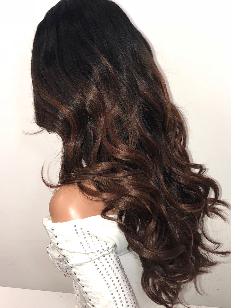 Brown Balayage' Swiss Lace Part Wig 18 Inches | Soft Curls Layered Hair | City Girl 1018