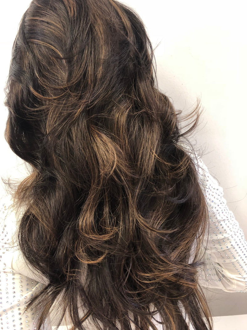 Brown Balayage' Swiss Lace Part Wig 22 Inches | Soft Curls Layered Hair | Tamia 1018 27