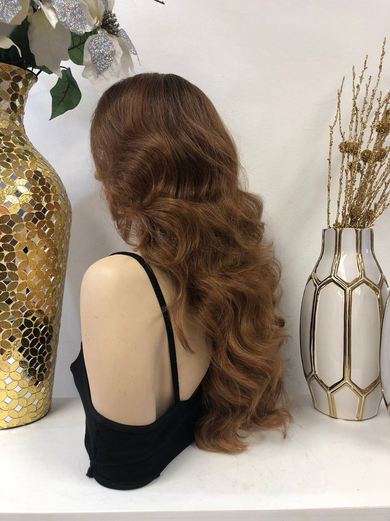 "Dark Blond Ombre SWISS Multi Parting Lace Wig | 22"" Tacoma 1118 31"