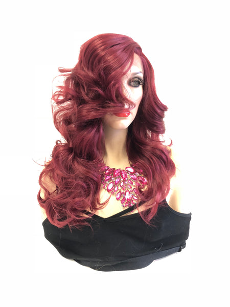 "Burgundy Red Lace front Wig 16"" e26 