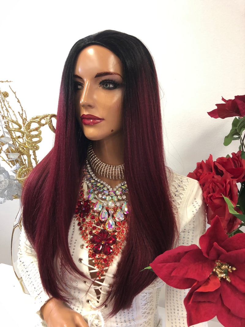 "Burgundy Red Ombre Half Wig 18"" Acceptance 1118 45"