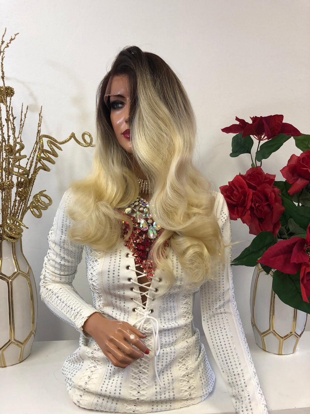 "Blond Balayage Ombre Swiss Full Lace Wig | 16"" First Class 1118 42"