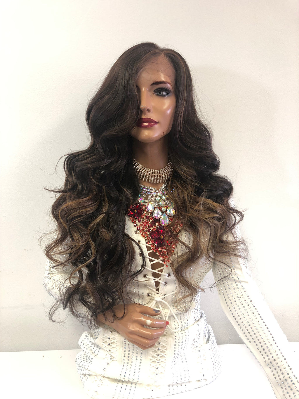 "Balayage Ombre Brown Blonde SWISS Lace Front Wig | 26"" Michaela 1118"