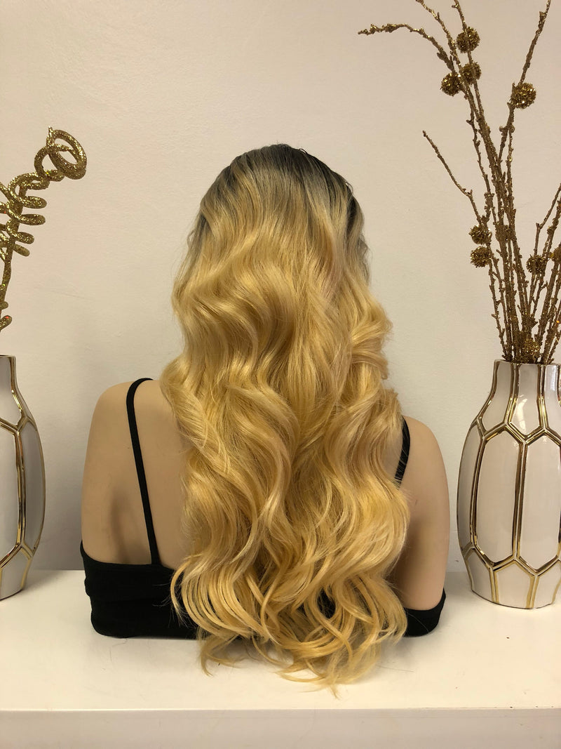 Blonde Ombré Front Lace Wig | Long Volume Curls Soft Layered Hair | Valentino e35