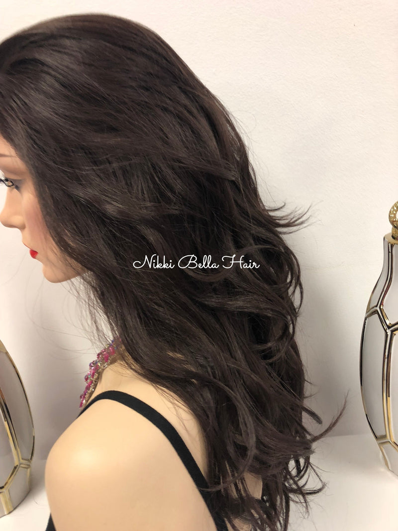 Brown Highlights Full Lace Wig 18"
