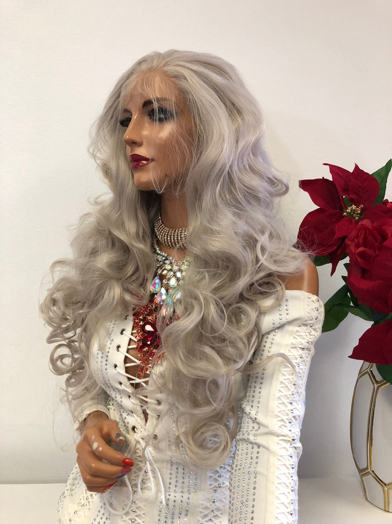 "Silver Gray FRENCH Lace Front Wig | 22""  1118 56"