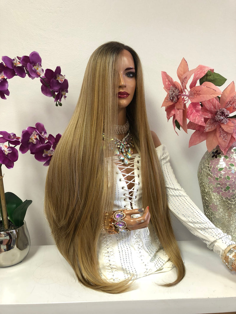 Blond Balayage Hair with Dark Brown Roots | Swiss Front Lace Wig 40"