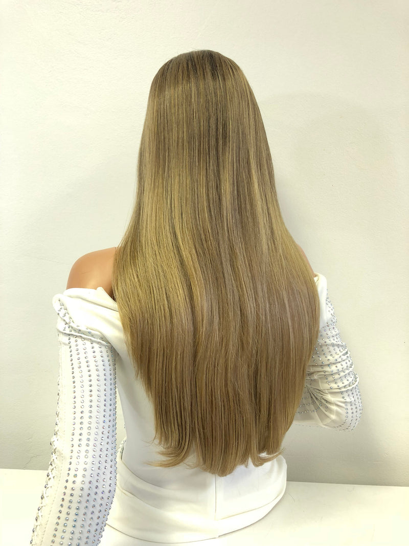 Natural Ash Blond Balayage Ombre Swiss Lace Front Wig | Long Soft Layered Hair | Kathryn 1018 20