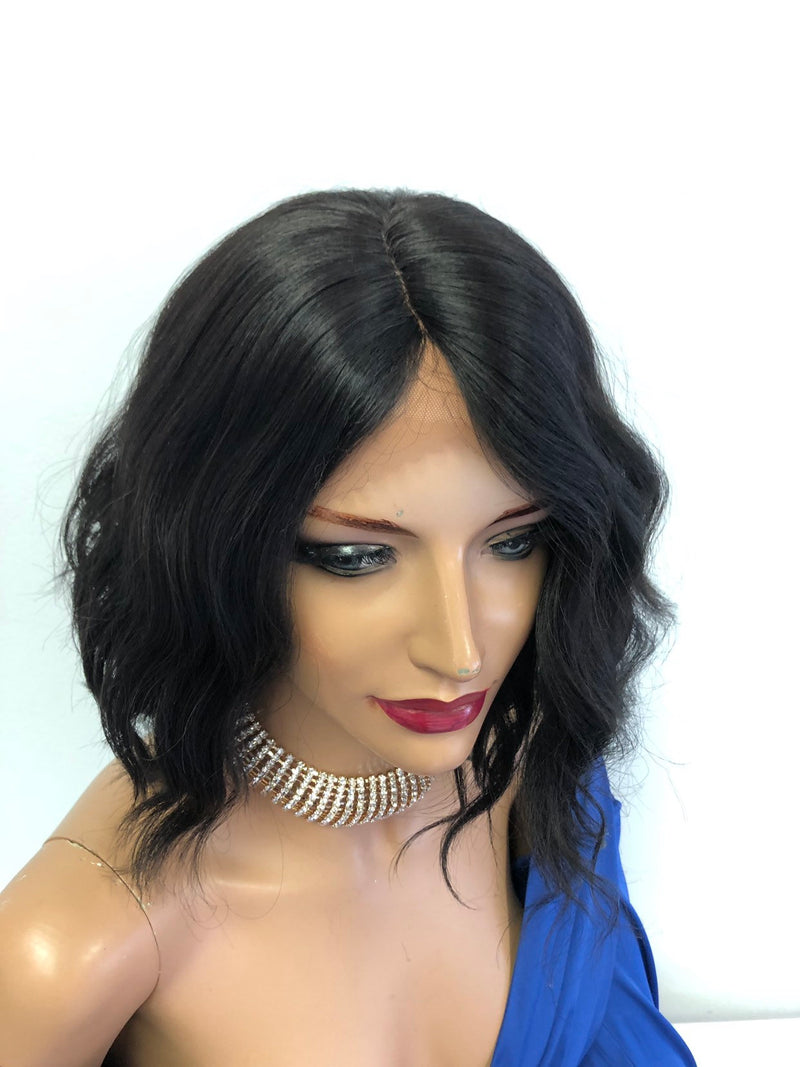 "Black Wavy Lace Front Wig 10""  1118 74"
