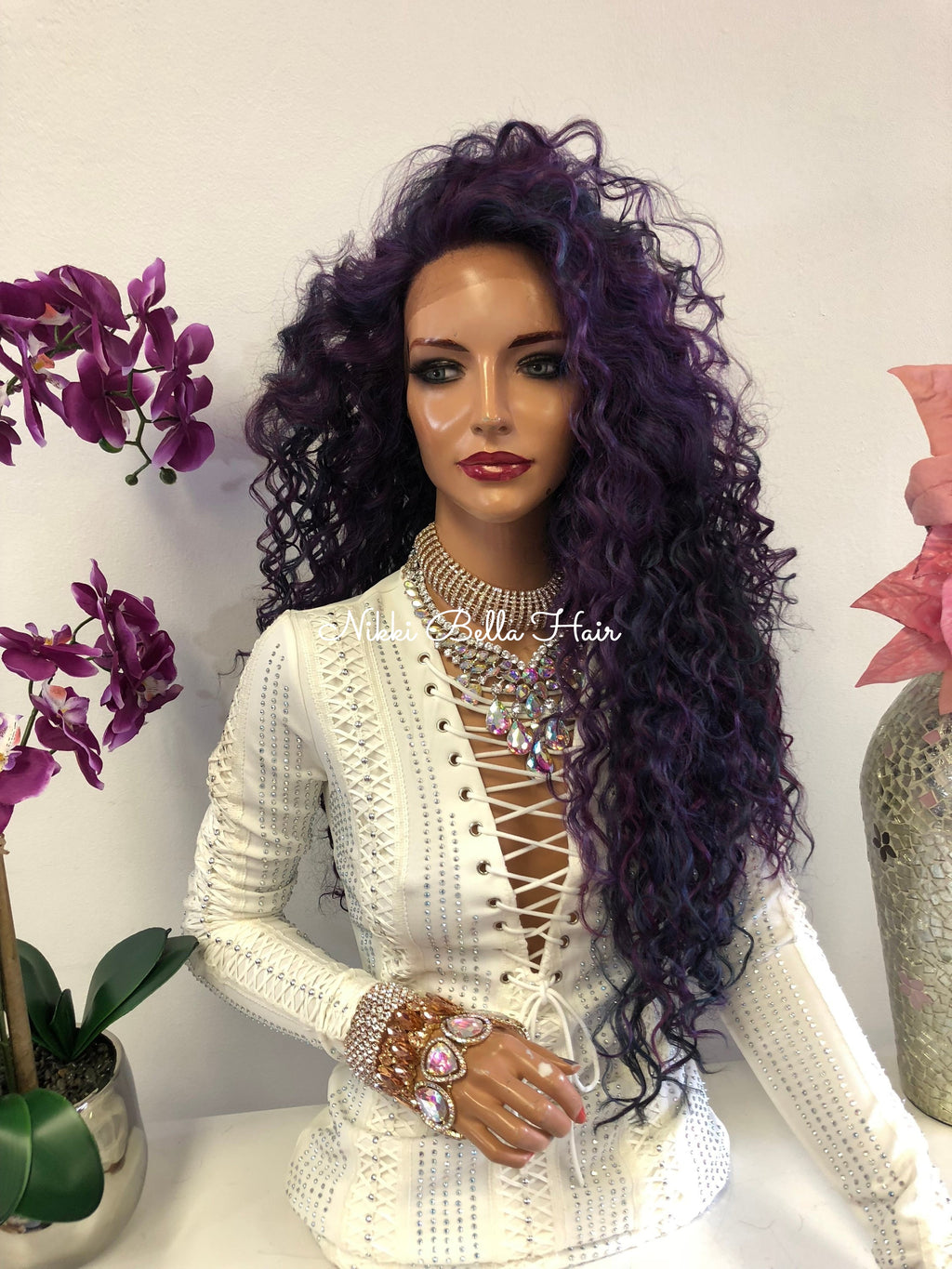 Violet Purple Swiss Lace Front Wig 26 Inches | Multi Parting | Tight Curls Layered Hair | Vanity 1018 48